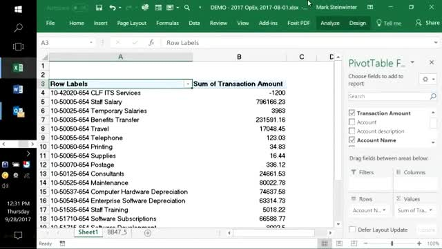 Lunch and Learn: Sorting, Filtering and Using Pivot Tables in Excel